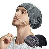 EINSKEY Beanie Herren Damen Jersey Slouch Mütze Kopfbedeckung Set Baumwolle Schwarz & Grau für Chemo, Sport, Krebs, Schlaf