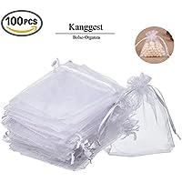 Kanggest 100Pcs Bolso Blanco de Organza Bolsitas de Tul para Decoración del Banquete de Boda Bolso del Caramelo Bolso del Hilado la Perla Regalo Joyería 9 * 12cm