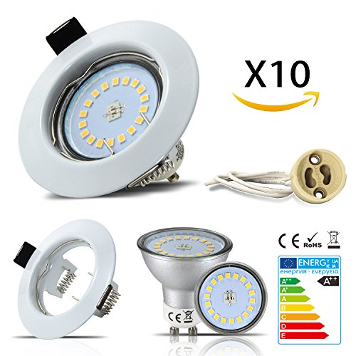 HiBay 10 Stück Einbaustrahler Set Led GU10 5W 18PCS High Power LEDs Rund fest Einbaurahmen Einbauspots Einbauleuchten Einbaulampen Warmweiß 2700-3000K 450Lumen Ersetzt 45W, 2 Jahre Garantie