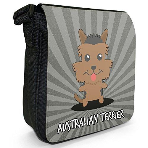 Australian: cani dei cartoni animati-Borsa a tracolla in tela, piccola, colore: nero, taglia: S Australian Terrier, Aussie