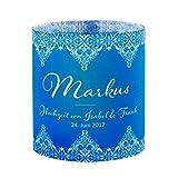 Tischkarte Windlicht Vintage Love Blau mit Druck: Platzkärtchen, Tischkärtchen, Tischdeko für Hochzeit, Geburtstag, Taufe, Kommunion