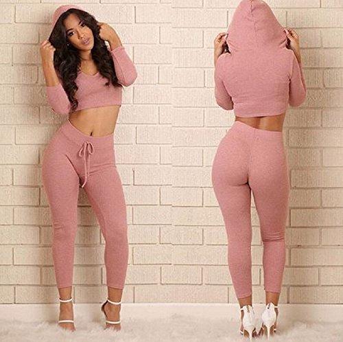 XJoel Womens Sport Sweatshirt + Hosen Sweat Anzüge Casual Trainingsanzug Outfits Kurzarm Farbe Block Sport Trainingsanzüge Casual Sweatshirts Set Pink XL