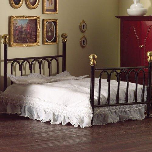 Negro hierro fundido doble cama y fundas