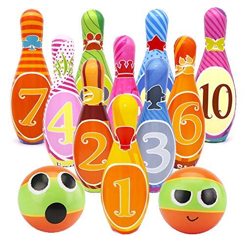 Kegelspiel für Kinder Bowlingkugel Kegel Drinnen Draußen Spielzeug Geschenke Kinder ab 3 4 5 Jahren (10 kegel und 2 Bälle in netzbeutel) ()