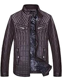 3b0d7192e77d Celucke Herren Jacke Übergangsjacke Biker Lederjacke Kunstleder mit  Gesteppten Bereichen