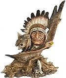 Indianer Häuptling mit Wolf Büste Western Wilder Westen Wildwest Deko Figur Indian Warrior