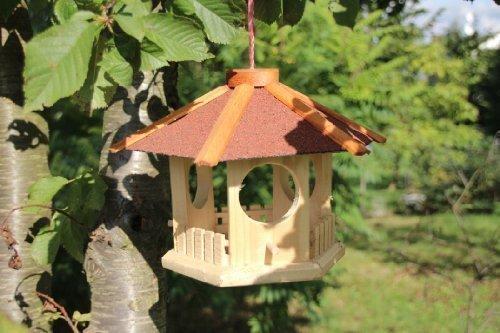 Kleines Vogelhaus zum hängen 6-eckig rot