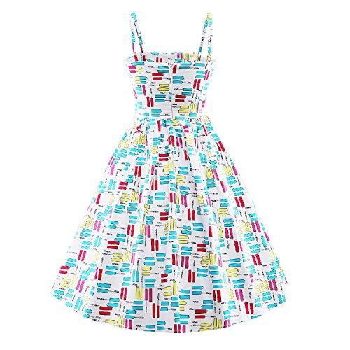 iLover Classy Vintage Floral Hepburn style 40s 50s 60s Balançoire Rockabilly Party Dress Soirée Blanc