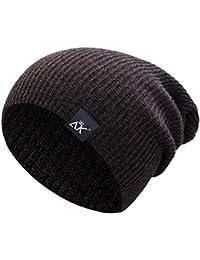 longsw Hombres Unisex invierno en plein air estriado de punto sombrero  Slouchy vertical rayas sólido color d201b7abc03