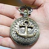 Armbanduhr Halskette Anhänger Anker Charme Herren Taschenuhr Taschenuhr Halskette Anhänger Anker einfach rund