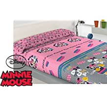 Juego Sábana Polar Oficial DISNEY Miss Minnie Mouse SHOP TILL ( Cama de 90 )