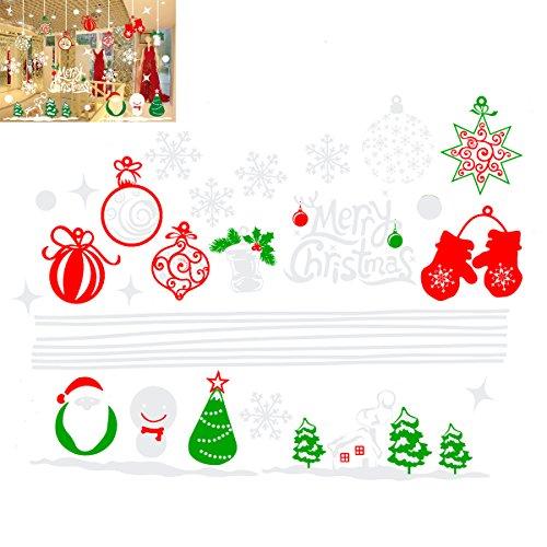 mas Fenster Aufkleber Dekoration Schneemann Rentier Schneeflocke Sana Claus Xmas Tree Glas Wand Aufkleber Store Home Party Decor 70x 50cm ()