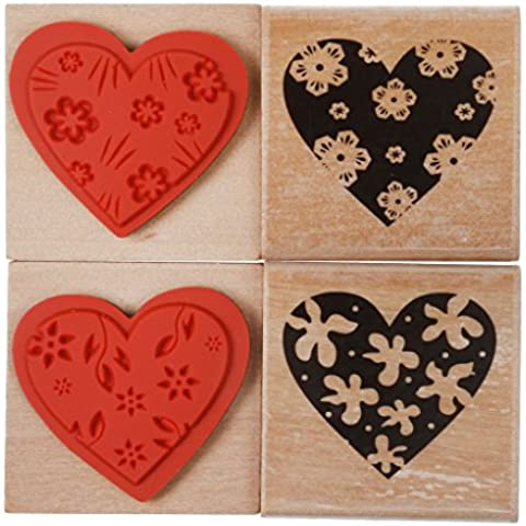 4pcs Flor Del Corazón Amor De Vendimia Sello De Goma De Madera DIY Sello Estampado En Relieve
