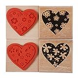 4pcs Cachet Tampon Bois Forme Coeur Motif Fleur Sceaux à Cacheter Pour Invitation Carte Timbre Diy...