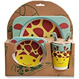 Animal Print Kids Dinner Set | Eco Friendly 100% Natural Bamboo Fibre Set Of 5 Pieces. By PRINTELLIGENT - B075V2BRV3