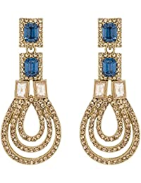 The Luxor Traditional Gold Plated American Diamond Chandelier Earrings For Girls And Women