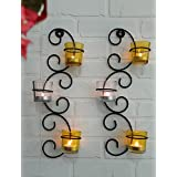 TiedRibbons® Tlight Holder /wall Sconce Holder Pack Of 2(Black, Metal) | Diwali Lights For Decoration Of Home | Tealight Wall Decor | Diwali Decoration For Home | Corporate Gifts For Office