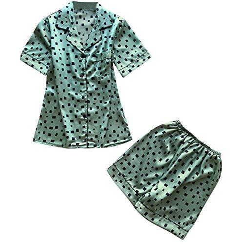 e Damen Frauen 2 Stücke Sommer Pyjamas Kurzarm Shorts Pyjamas Lose Nachtwäsche Homewear Damen Hauspyjama Zweiteilig Y-1 (Grün,XL) ()