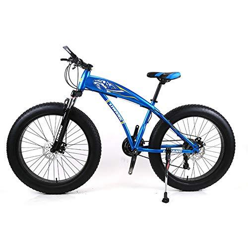Bicicleta de montaña para Hombre 7/21/24/27 Velocidades, 26 Pulgadas Bicicleta de Carretera Fat Tire Pedales de Bicicleta de Nieve con Frenos de Disco y Horquilla de suspensión,Blue,24Speed