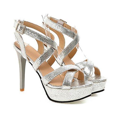Femme Escarpins Bride Cheville Sexy Sandales Talon Aiguille Plateforme Epais Chaussures Club Soiree Argent