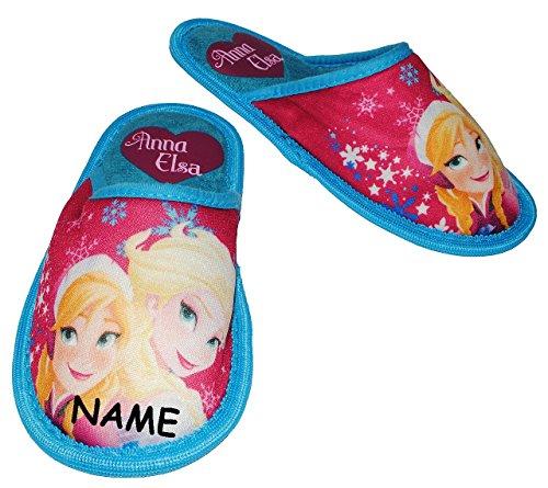 """Hausschuhe / Pantoffel - Gr. 33 - """" Disney FROZEN - die Eiskönigin """"- incl. Name - rutschfeste Schuhe Schuh / Hausschuh mit Profilsohle - für Kinder - Mädchen / Plüsch - Superweich - Slipper - Pantoff"""