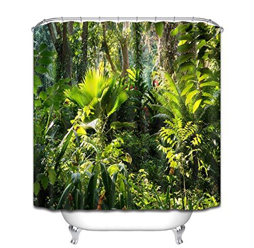 LGXINGLIyidian Tropischen Dschungel Duftenden Laub Grün Duschvorhänge Palms Baum Bad Vorhang Stoff Polyester Für Badewanne Dekor 240X180 cm