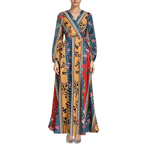 Bohemian National Kostüm - Setsail Damen Muslim National Style Print Kleid Bohemian Thin Beach Beauty Bequem Dress