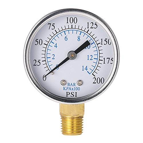 "Fesjoy - DRUCKANZEIGE - 0 50 Mm 0~200 Psi ~ 14Bar Pool Fil-ter Wasserdruck Dial Hydraulische Manometer Meter Manometer 1/4""Npt Gewinde"