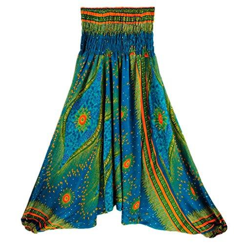 Pantalon, Hunpta Femme décontracté dété ample Yoga Pantalon baggy Boho Aladdin JumpSuit Harem Pantalon Green