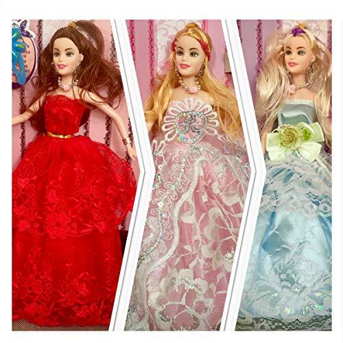 3x Puppe Set, Schöne Kleider. Tolles Geschenk, Fashion Puppen mit tollen Abendkleidern und Accessories Spielzeug für Mädchen
