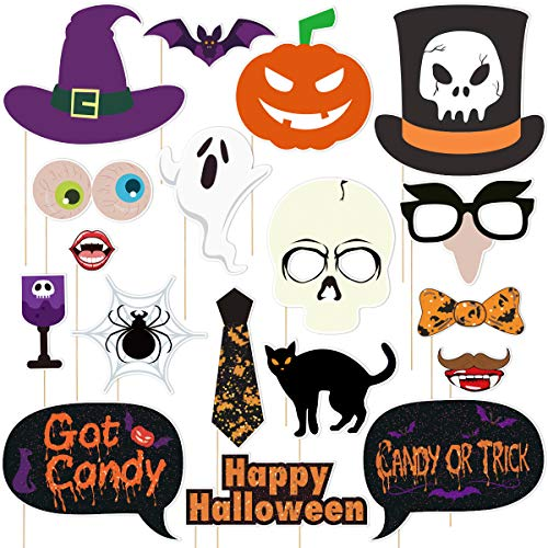 Amosfun 18PCS Halloween Photo Booth Requisiten für Halloween Party Fotografie Dekoration einschließlich Spooky und Hexe (Trick Behandeln Halloween-nacht Oder)