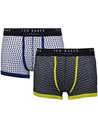 "Ted Baker London Blue Circles Dashes Mens Cotton Wanted Fitted Boxer Trunks 2 Pairs (Small (Size 2-28""-30"" Waist))"