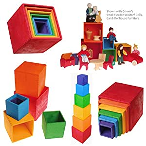 Grimm's Toys Large Rainbow Stacking Boxes