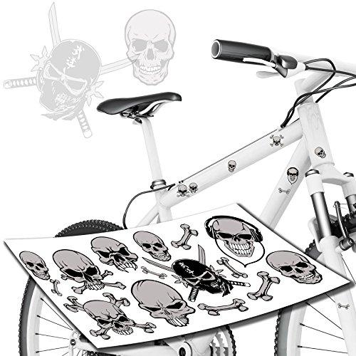 Tops Kundenauftrag (Skelett & Totenkopf Skull Aufkleber Jugendrad Kinderrrad Jungen / Sticker TOP)