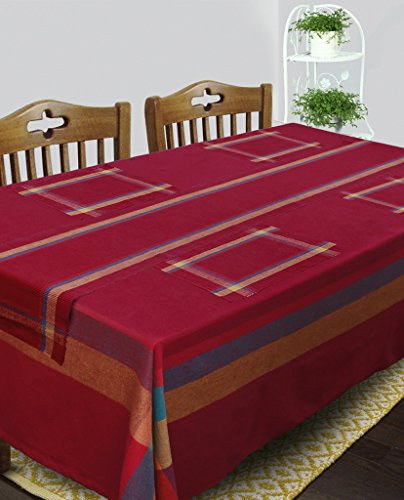 Dhrohar Cotton Maroon Table Linen Set for 6 Seater Table - Table...
