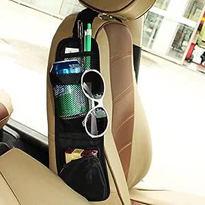 KolorFish Universal Car Seat Storage Organizer - Portable Hanging Storage Bag with Multi-Pocket Mesh - Cell Phone Sun Glasses Drinks Holder Travel Organizer (1 Pc) Black
