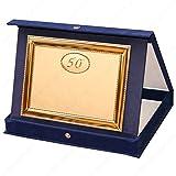tecnocoppe Targa in Alluminio 50° Anniversario Matrimonio Nozze d'oro, 50 Anni, con Astuccio e Stampa Personalizzata