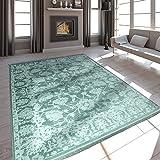 Paco Home Hochwertiger Wohnzimmer Teppich Modern Satin Optik Barock Design Fransen Mintgrün, Grösse:160x230 cm