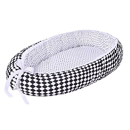 LULANDO Nido bebé Reductor de cuna reversible Capullo Multifuncional Diferentes Colores Oeko-Tex Standard 100 Clase I, Farbe:Black Diamonds / Dots White