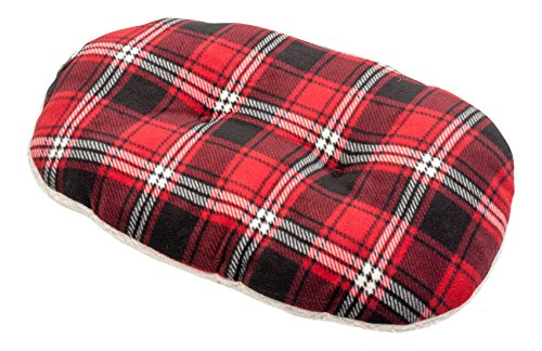 Petface Red Tartan Check Oval Cushion Dog Bed Soft Faux Sheepskin Puppy Mattress (Extra Small)