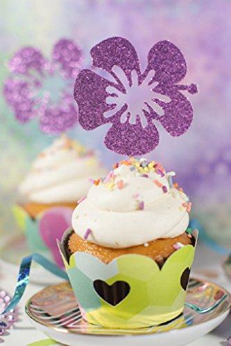 en Designs von tropischen Kokosnüssen/Hibiskus/Ananas Cupcake Topper für Geburtstag/Events/Partys Sets von 12... Hibiskus ()