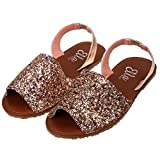 Ladies ELLA Glitter Slingback Flat Menorcan Open Toe Spanish Sandals Rose Gold UK 7, EU 40