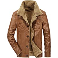 SUCES Mode Herren Warme Jacke Langarm Große Größe Leder Winterjacke Männer Herbst Winter Freizeit Dicke Hochwertig Revers Mantel