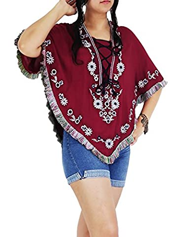 AuthenticAsia Damen Umhang Poncho Gr. 34, Maroon Red