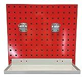 Wandhalterung für Paketbandabroller / Klebebandabroller, 4-teilig, Lochplatte, verkehrsrot, ca. 500x450 mm (LxB), mit 2 Lochwandhaken und 1 Ablageboden, Lochplatte, Werkzeuglochwand, Werkzeughalterung