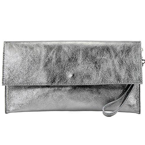 modamoda de - M106-151 - ital Clutch Wildleder/Leder Metallic, Farbe:M151 Silbergrau Metallic -