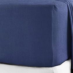 Sábanas bajeras extraprofundas, Franela auténtica de algodón peinado, 40cm, 12 colores, azul marino, Doublé