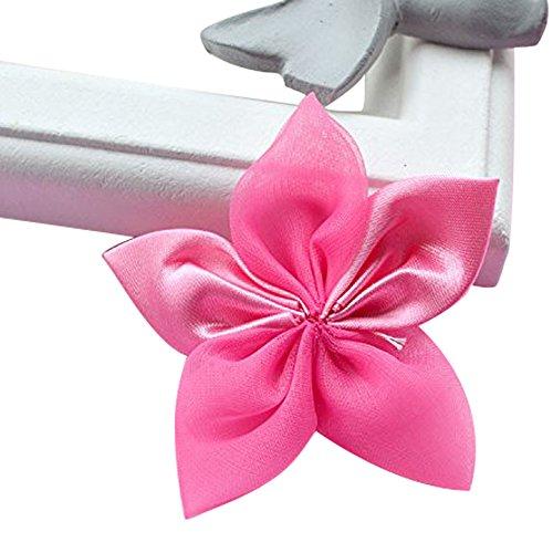 50 pezzi fiocco fiore cinque petali nastro raso organza accessori decorazioni creazioni fai da te (fuxia)