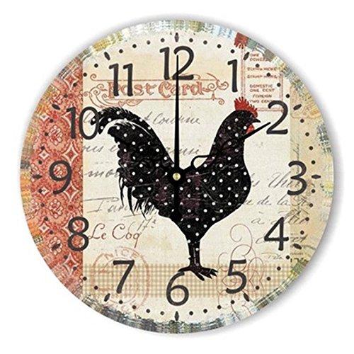 WXIN Lion Tiger Grand Numeral Grande Horloge Murale Montre Enfants Chambre Décoration Murale Horloge Design Moderne pour Enfant - Noir, 12 Pouces
