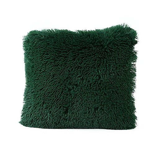 Tonsee 45cm*45cm Weiche Bequeme Short Plüsch Square Sofa Stuhl Kissen Abdeckung Throw Pillow Case Decorbox (Armee Grün) Short-throw-arm